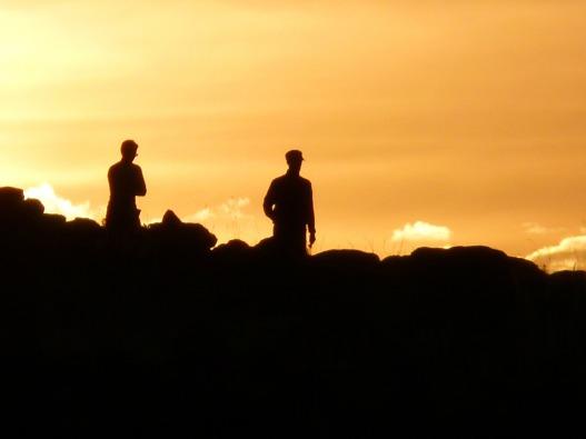 two men:sunset